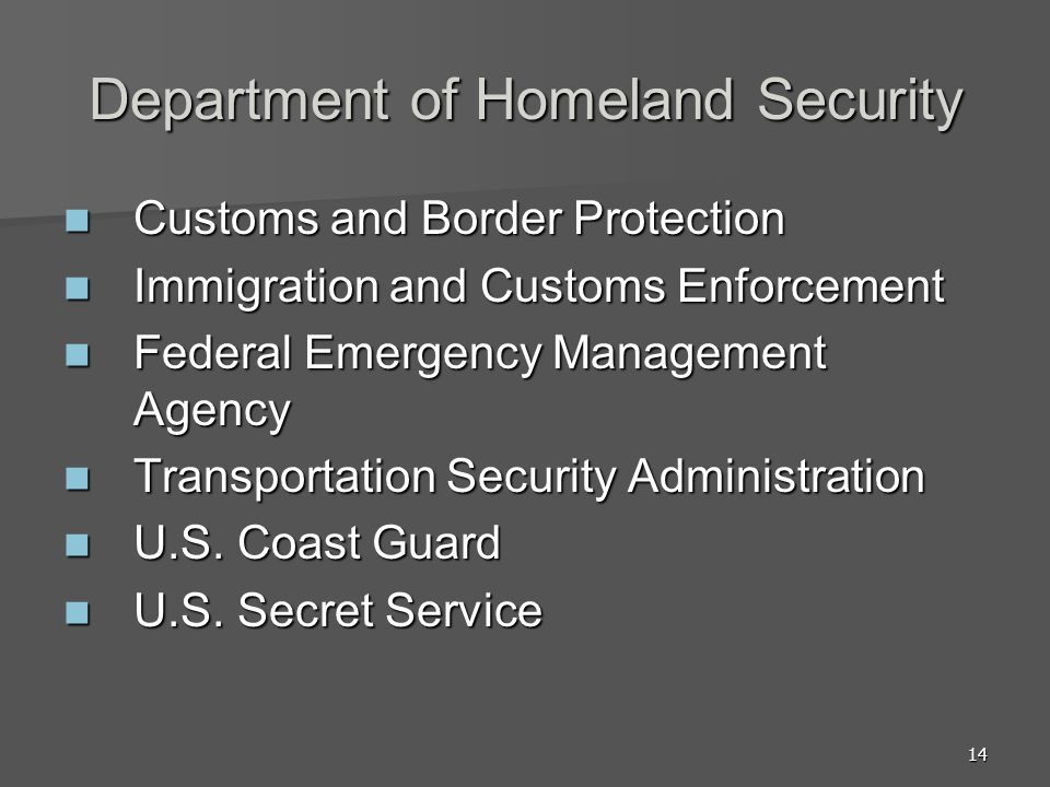 14 Department of Homeland Security Customs and Border Protection Customs and Border Protection Immigration and Customs Enforcement Immigration and Cus