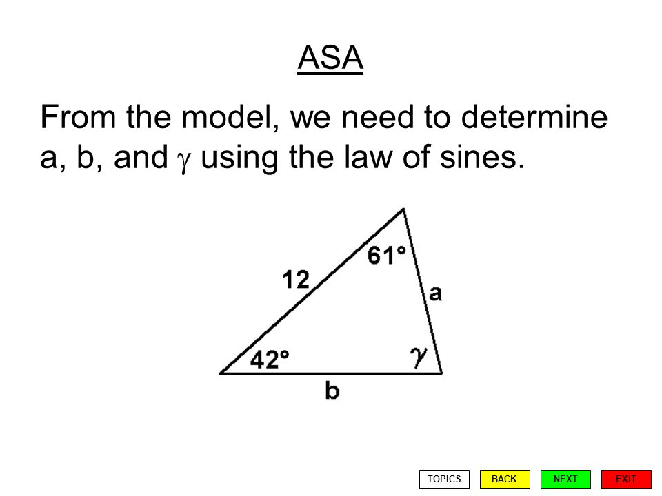 ASA From the model, we need to determine a, b, and using the law of sines. EXIT BACKNEXTTOPICS