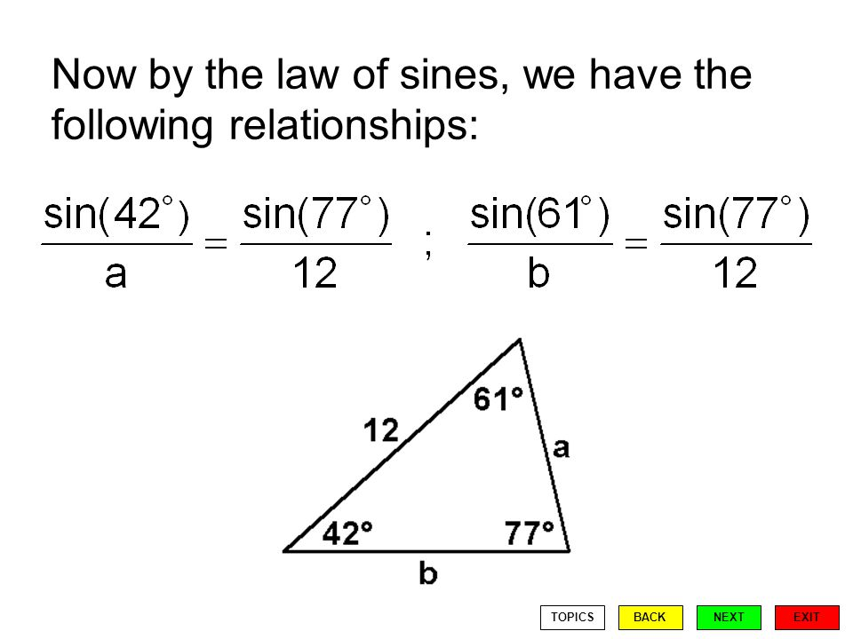 Now by the law of sines, we have the following relationships: EXIT BACKNEXTTOPICS