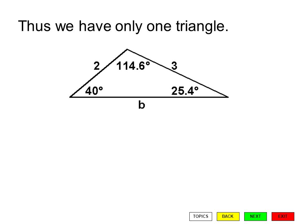 Thus we have only one triangle. EXIT BACKNEXTTOPICS