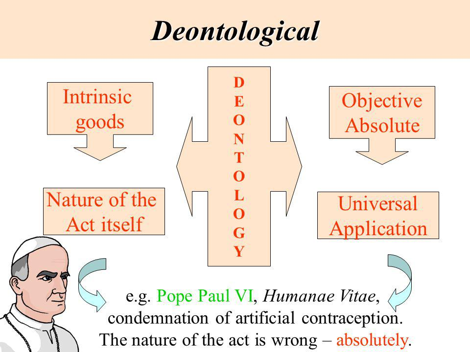Deontological DEONTOLOGYDEONTOLOGY Intrinsic goods Objective Absolute Nature of the Act itself Universal Application e.g. Pope Paul VI, Humanae Vitae,