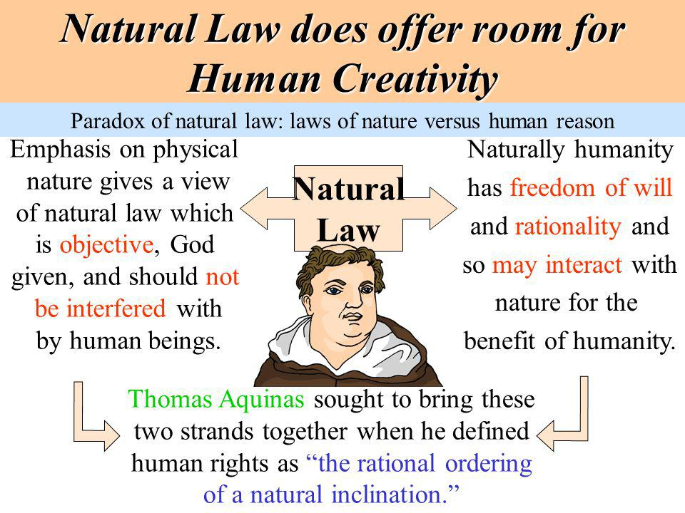 Natural Law does offer room for Human Creativity Natural Law Emphasis on physical nature gives a view of natural law which is objective, God given, an
