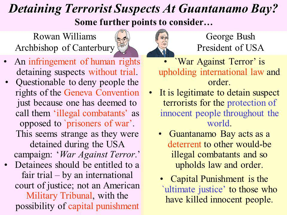 Detaining Terrorist Suspects At Guantanamo Bay? An infringement of human rights detaining suspects without trial. Questionable to deny people the righ