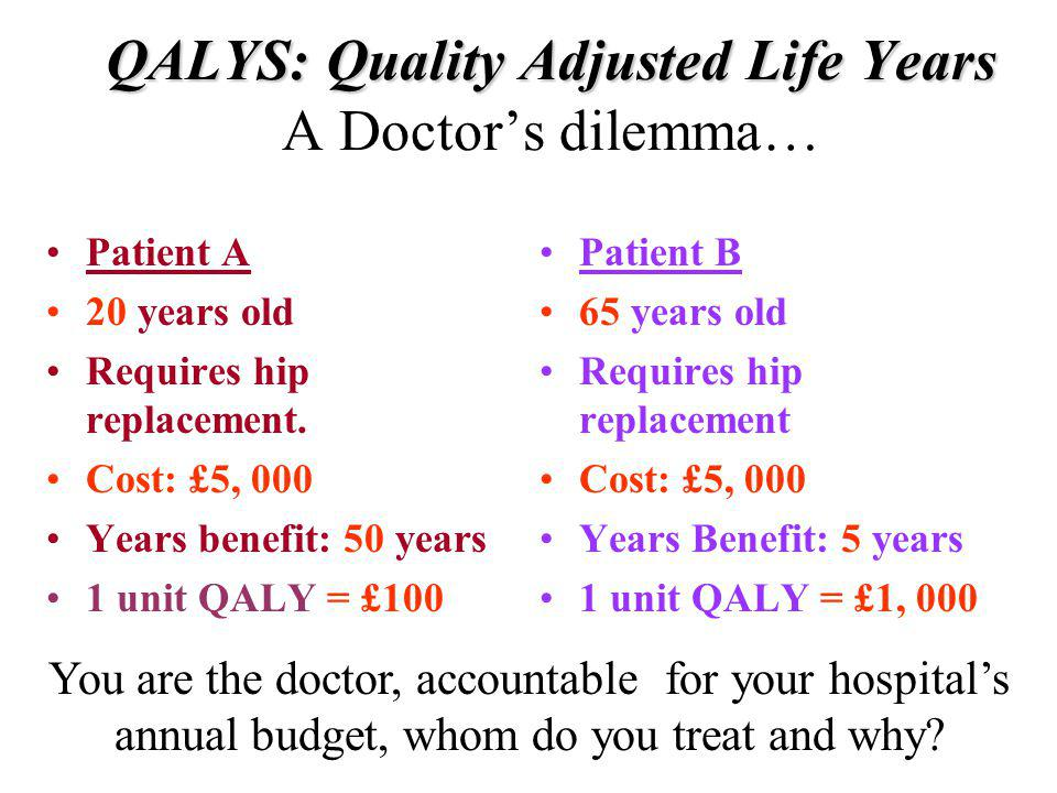 QALYS: Quality Adjusted Life Years QALYS: Quality Adjusted Life Years A Doctors dilemma… Patient A 20 years old Requires hip replacement. Cost: £5, 00