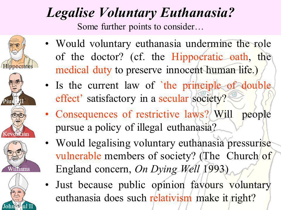 Legalise Voluntary Euthanasia? Legalise Voluntary Euthanasia? Some further points to consider… Pius XII John Paul II Hippocrates Williams Kevorkian Wo