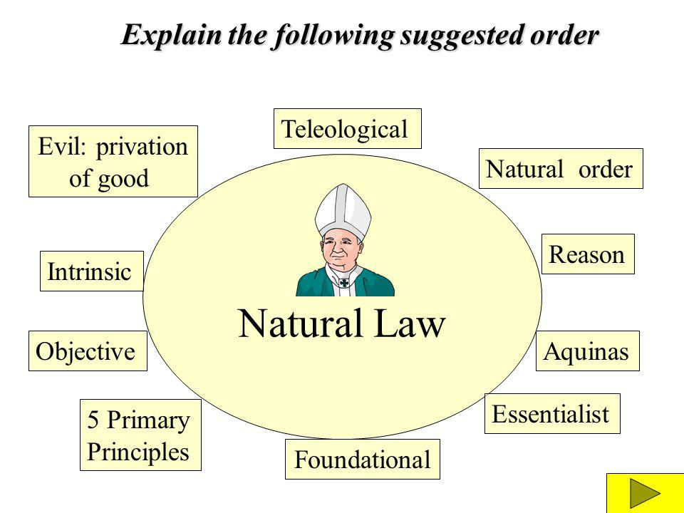 Natural Law Teleological Reason Natural order Aquinas Essentialist Foundational 5 Primary Principles Objective Evil: privation of good Intrinsic Expla