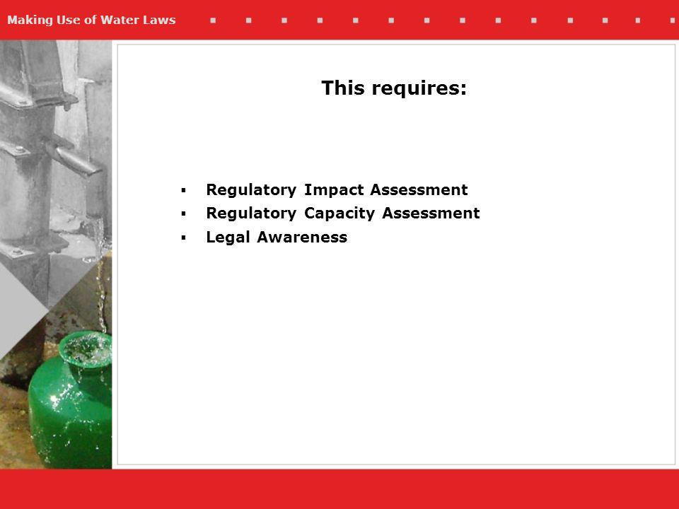 Making Use of Water Laws This requires: Regulatory Impact Assessment Regulatory Capacity Assessment Legal Awareness
