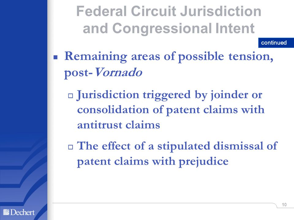10 Federal Circuit Jurisdiction and Congressional Intent n Remaining areas of possible tension, post-Vornado o Jurisdiction triggered by joinder or consolidation of patent claims with antitrust claims o The effect of a stipulated dismissal of patent claims with prejudice continued