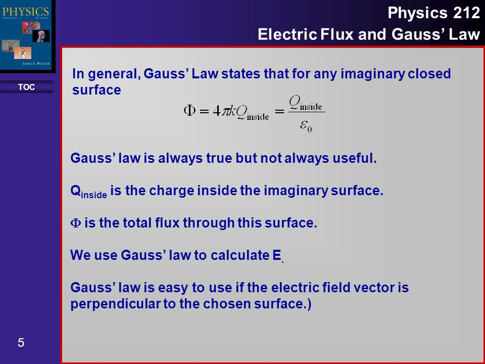 TOC 6 Physics 212 Electric Flux and Gauss Law Rules for Conductors All excess charge within a conductor moves to its surface.