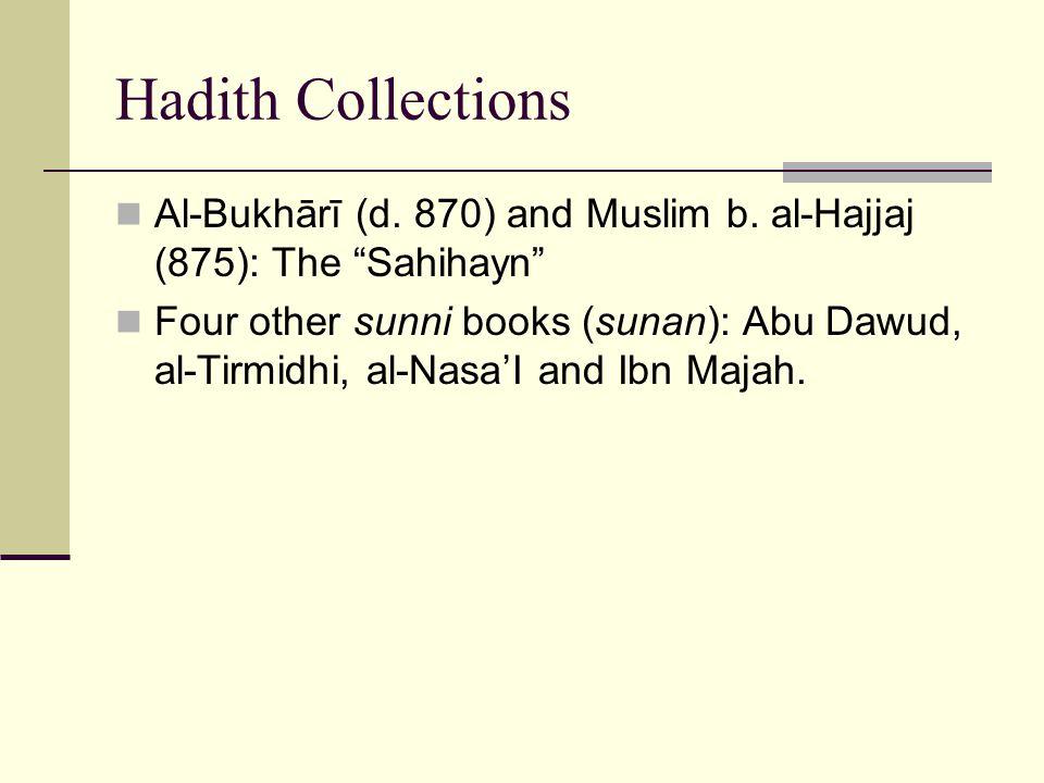 Hadith Collections Al-Bukhārī (d.870) and Muslim b.