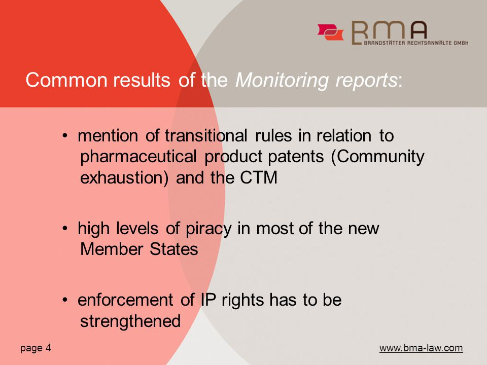 mention of transitional rules in relation to pharmaceutical product patents (Community exhaustion) and the CTM high levels of piracy in most of the new Member States enforcement of IP rights has to be strengthened page 4   Common results of the Monitoring reports: