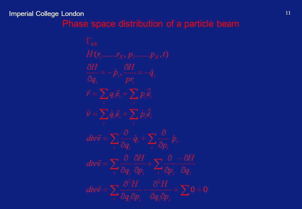 Imperial College London 11 Phase space distribution of a particle beam