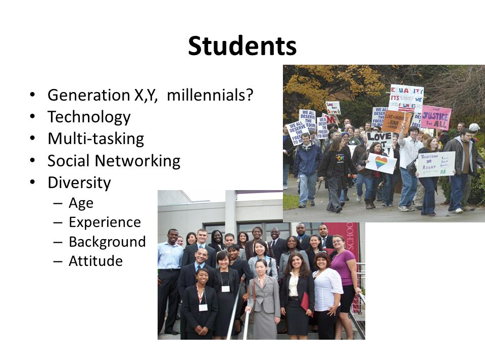 Students Generation X,Y, millennials? Technology Multi-tasking Social Networking Diversity – Age – Experience – Background – Attitude