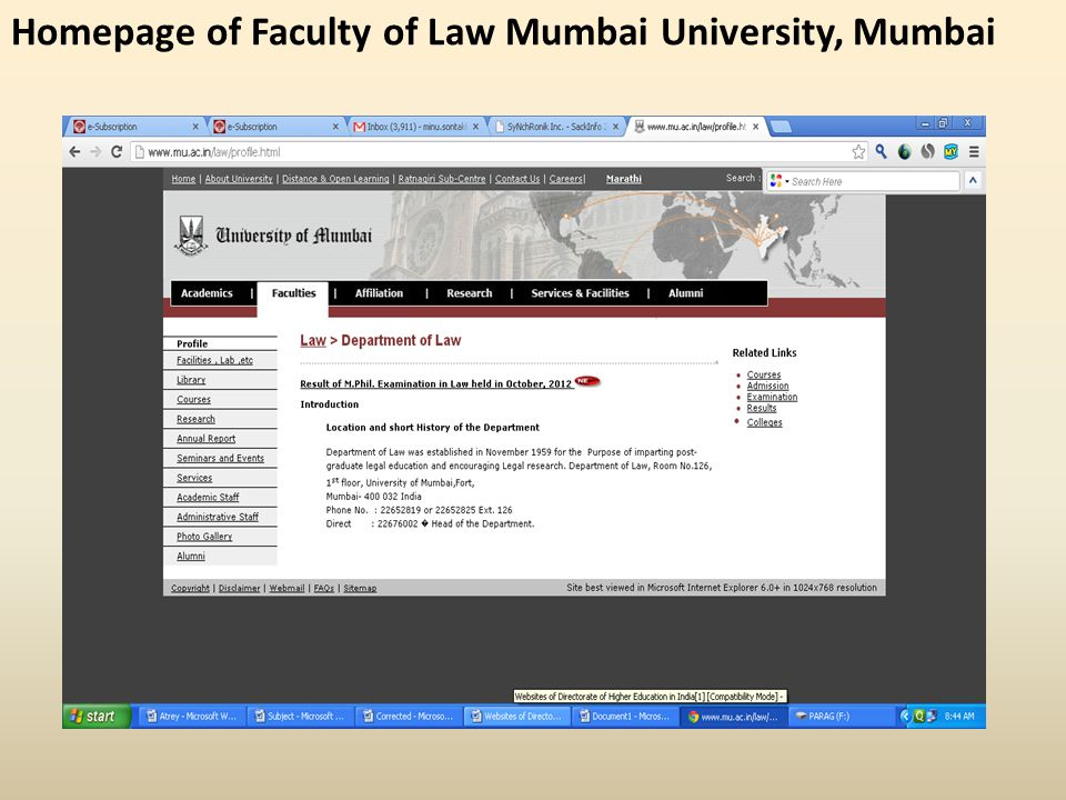Homepage of Faculty of Law Mumbai University, Mumbai