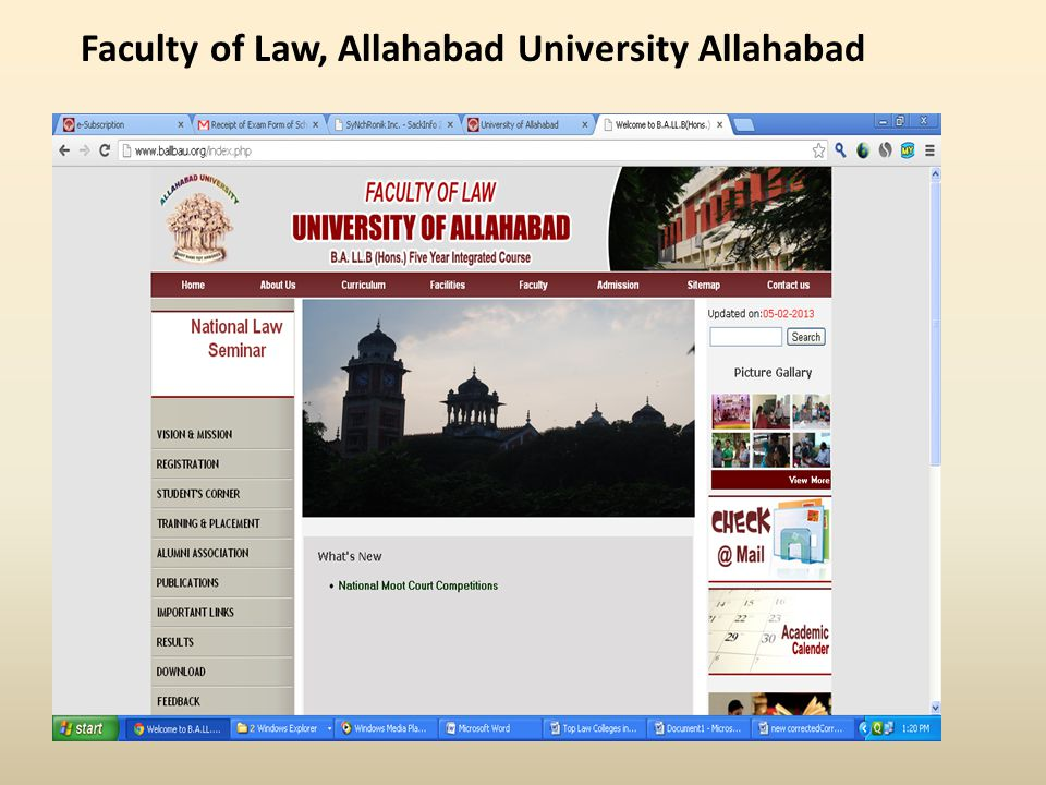 Faculty of Law, Allahabad University Allahabad