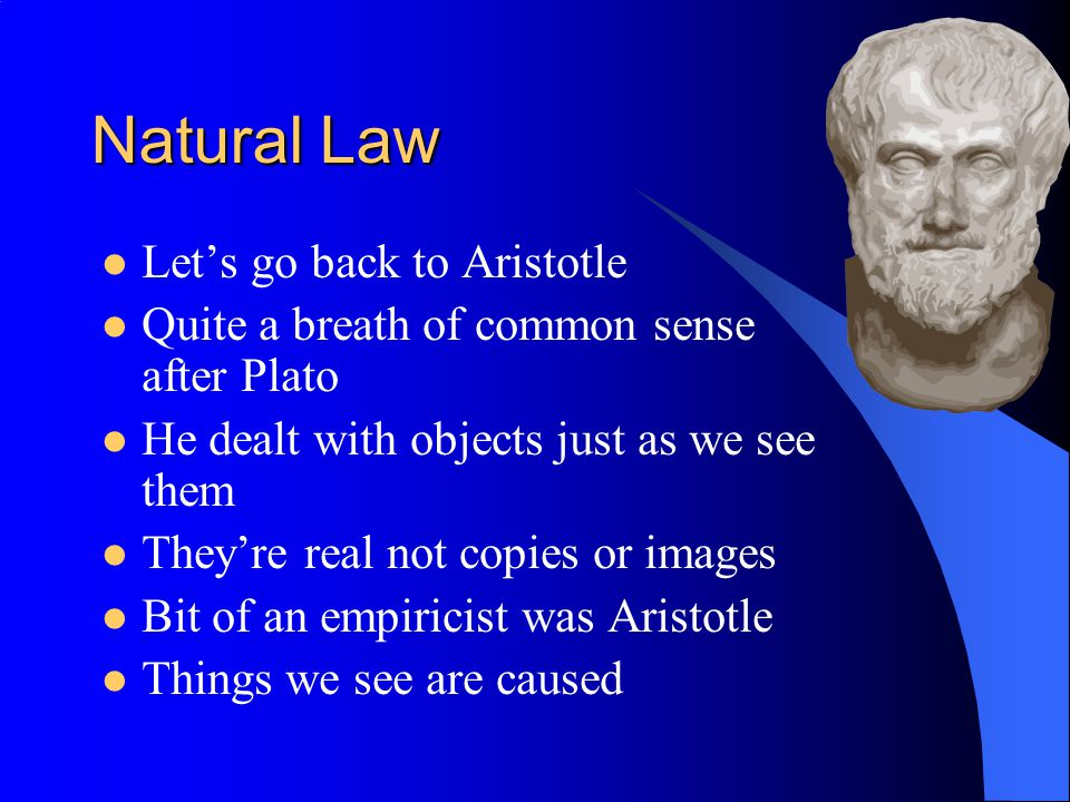 Natural Law The purpose of human life Preservation of the self To reproduce To live in an ordered society To worship God These could be discovered by reason