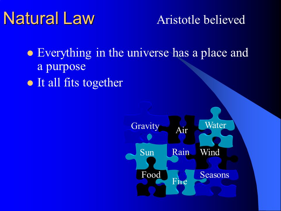 Natural Law Everything in the universe has a place and a purpose It all fits together Wind Fire Seasons Rain Sun Food Air Gravity Aristotle believed Water