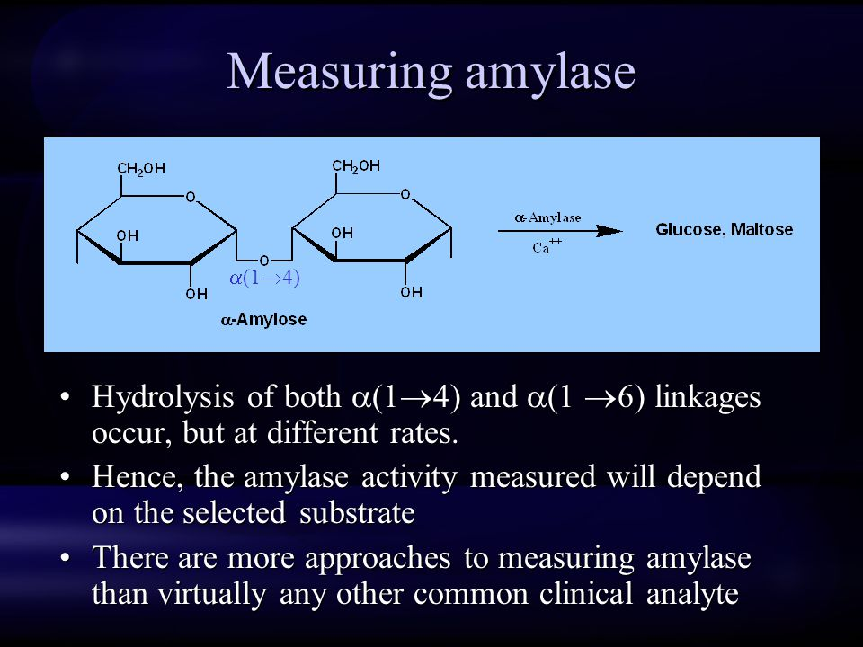 Measuring amylase Hydrolysis of both (1 4) and (1 6) linkages occur, but at different rates. Hence, the amylase activity measured will depend on the s