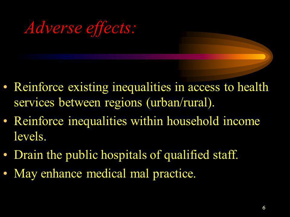 6 Adverse effects: Reinforce existing inequalities in access to health services between regions (urban/rural). Reinforce inequalities within household