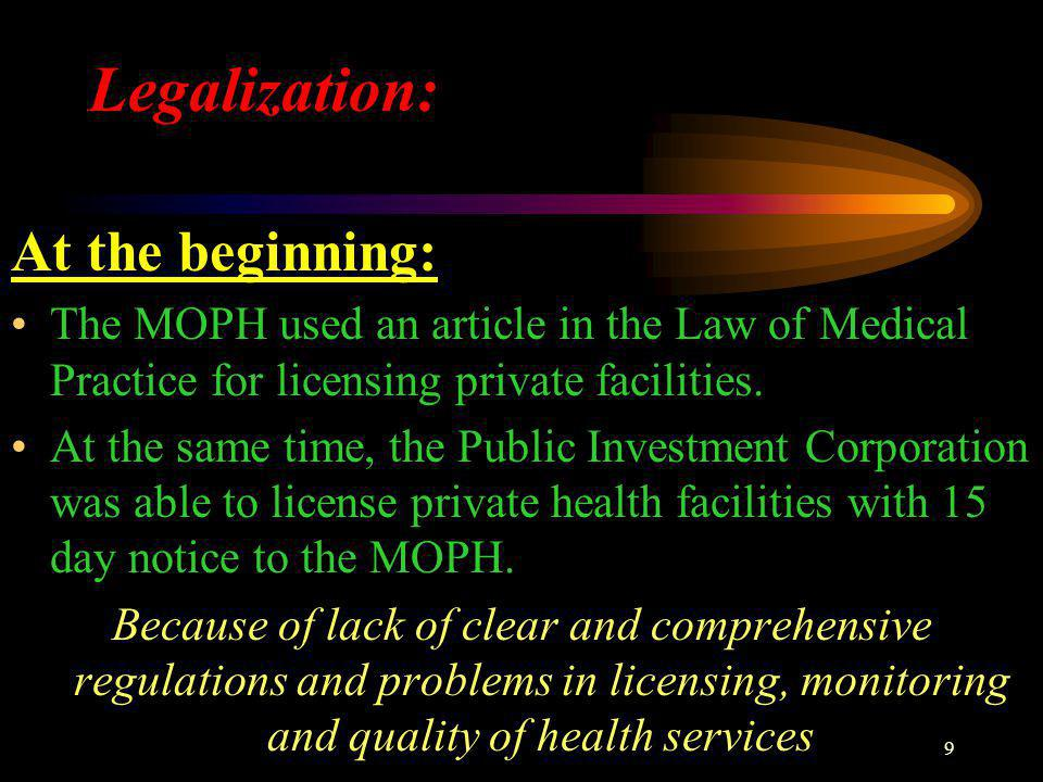 9 Legalization: At the beginning: The MOPH used an article in the Law of Medical Practice for licensing private facilities.