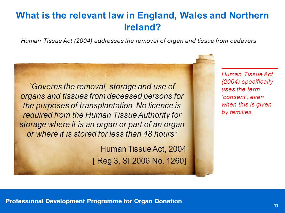 Professional Development Programme for Organ Donation 11 What is the relevant law in England, Wales and Northern Ireland.