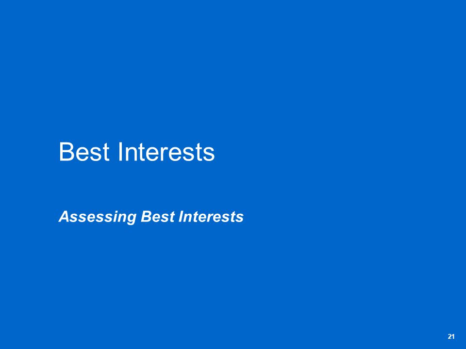 Best Interests Assessing Best Interests 21