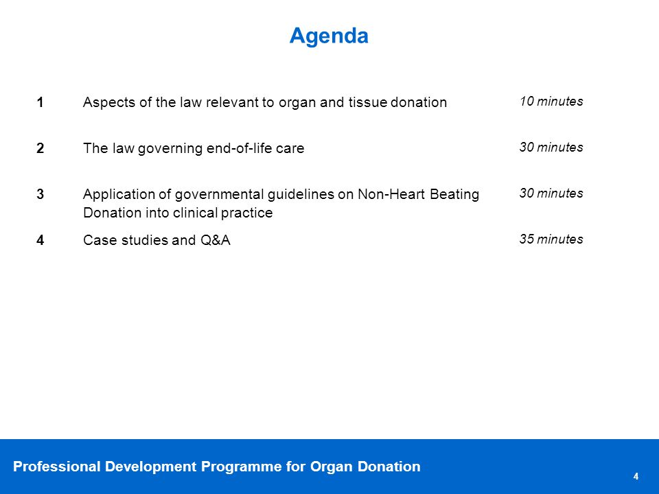 Professional Development Programme for Organ Donation 5 Issues to be covered 1 Clarification of the laws governing deceased organ and tissue donation 2Clarification of the laws governing end-of-life care 3 Understanding the impact of the law on potential organ donation and end-of-life care 4 Understanding the concept of best interest and how it can be applied 5