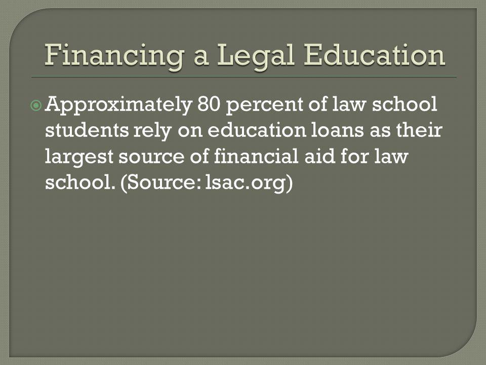 Approximately 80 percent of law school students rely on education loans as their largest source of financial aid for law school.