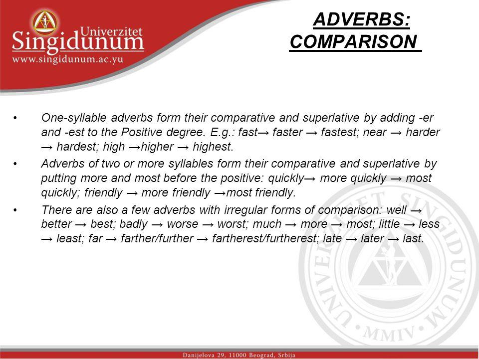ADVERBS: COMPARISON str.1 One-syllable adverbs form their comparative and superlative by adding -er and -est to the Positive degree.