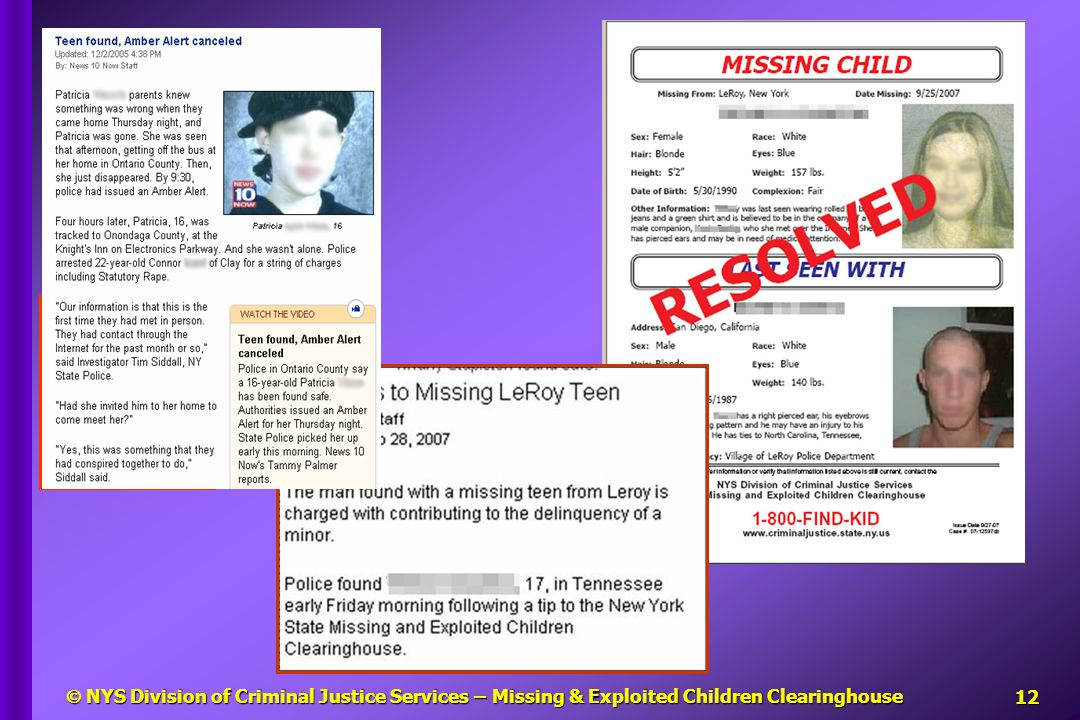 NYS Division of Criminal Justice Services – Missing & Exploited Children Clearinghouse13 Who are these people.