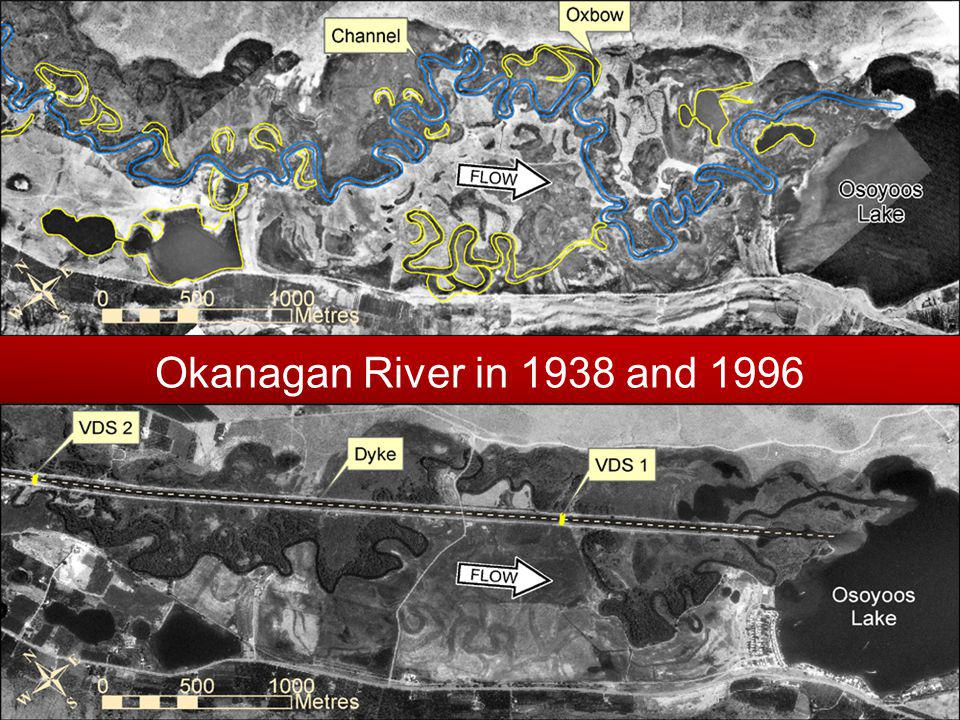 Okanagan River in 1938 and 1996