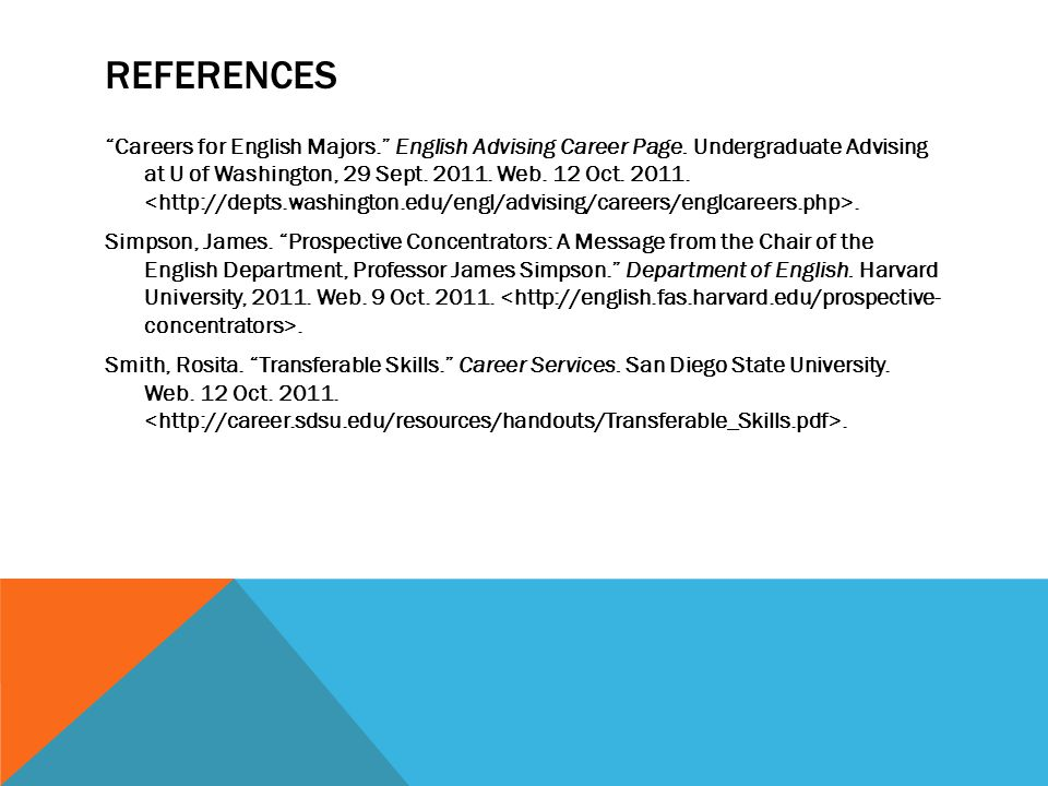 REFERENCES Careers for English Majors. English Advising Career Page. Undergraduate Advising at U of Washington, 29 Sept. 2011. Web. 12 Oct. 2011.. Sim