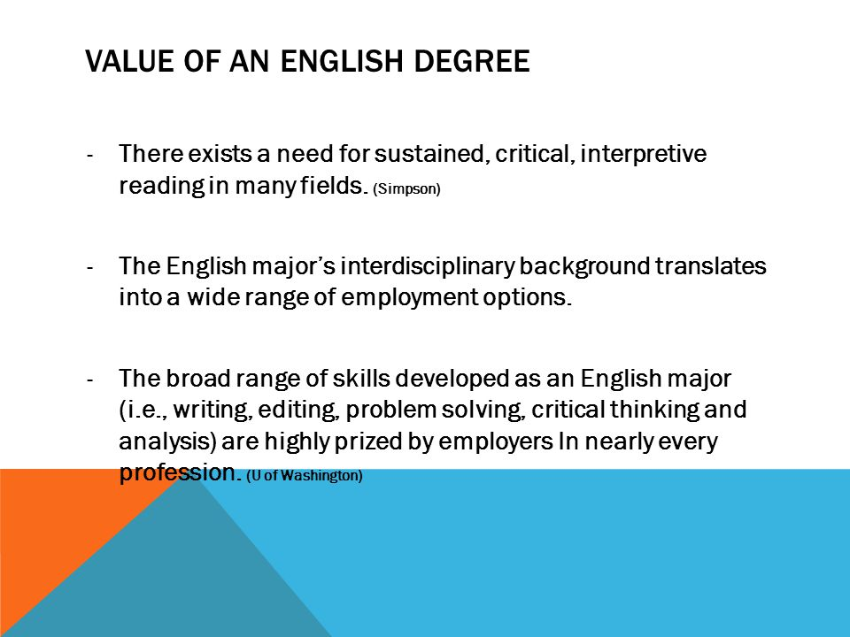 VALUE OF AN ENGLISH DEGREE -There exists a need for sustained, critical, interpretive reading in many fields. (Simpson) -The English majors interdisci