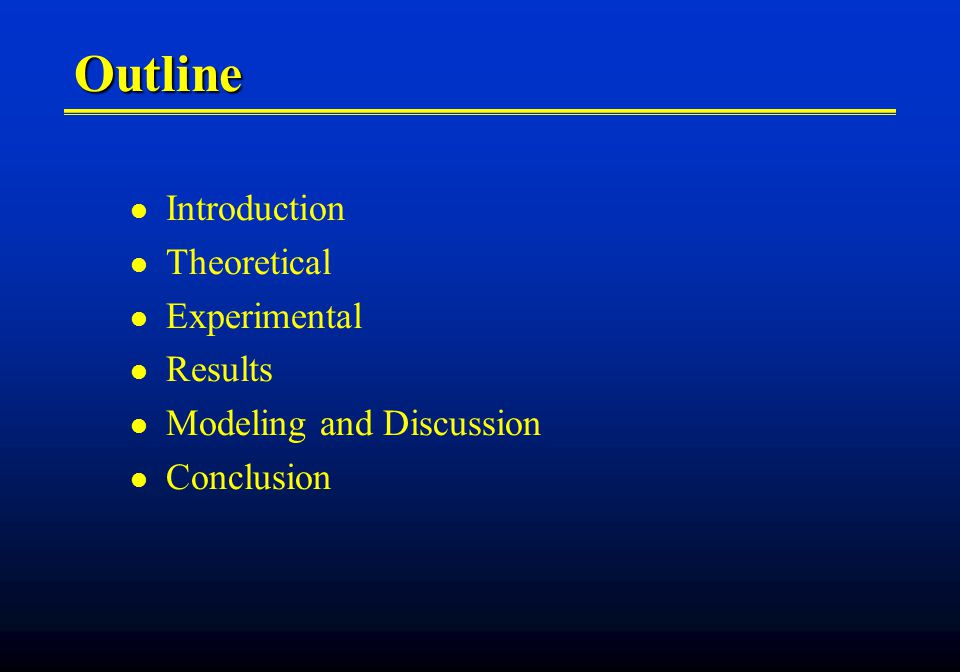 Outline Introduction Theoretical Experimental Results Modeling and Discussion Conclusion