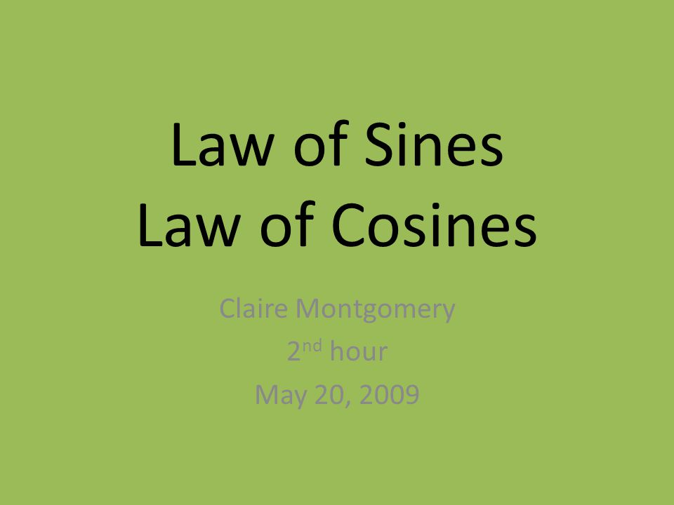 6.1 Law of Sines We use Law of Sines to solve oblique triangles.