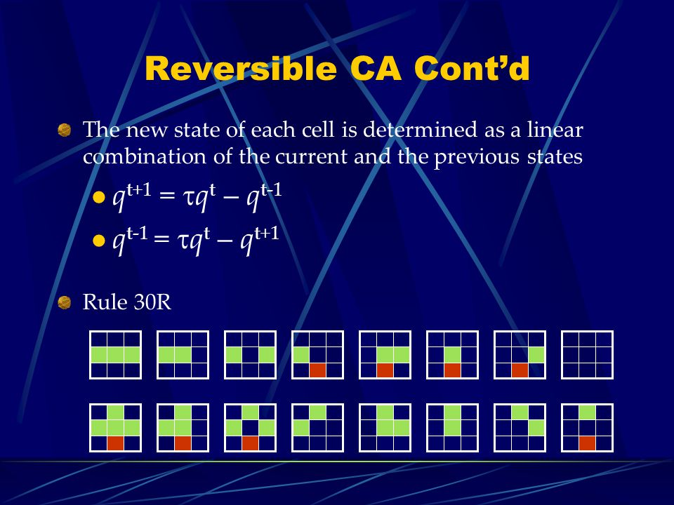 Reversible CA Contd The new state of each cell is determined as a linear combination of the current and the previous states q t+1 = q t – q t-1 q t-1 = q t – q t+1 Rule 30R
