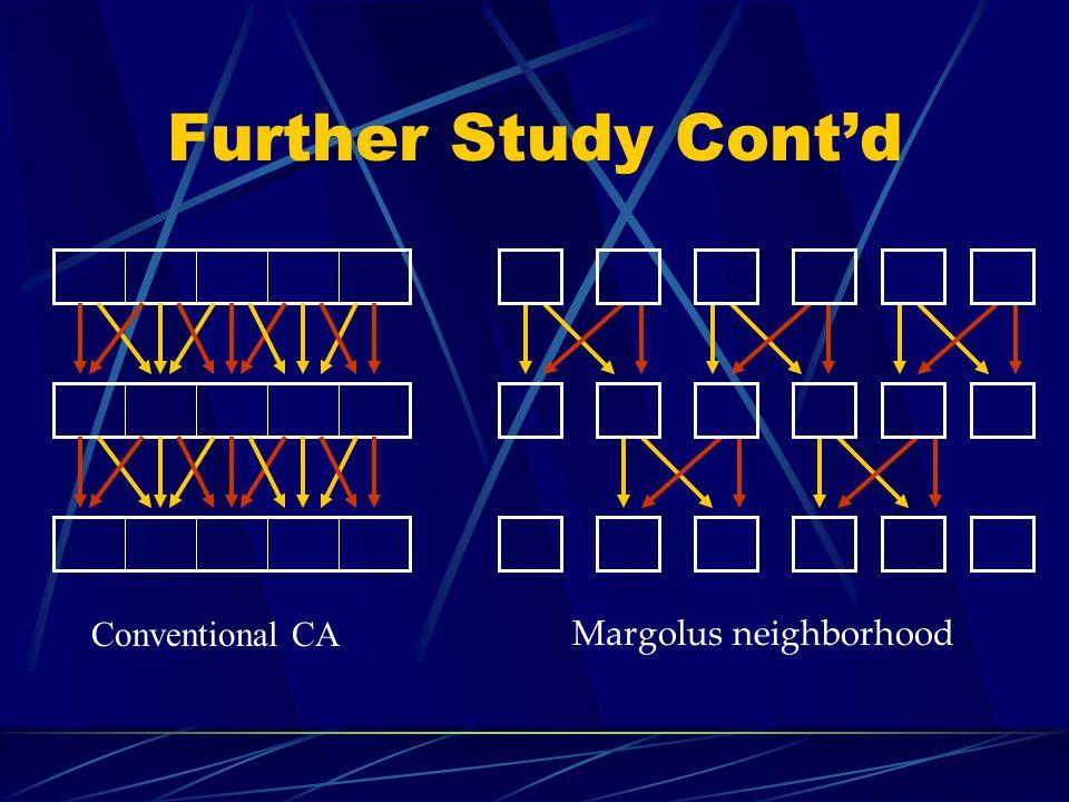 Further Study Contd Conventional CA Margolus neighborhood