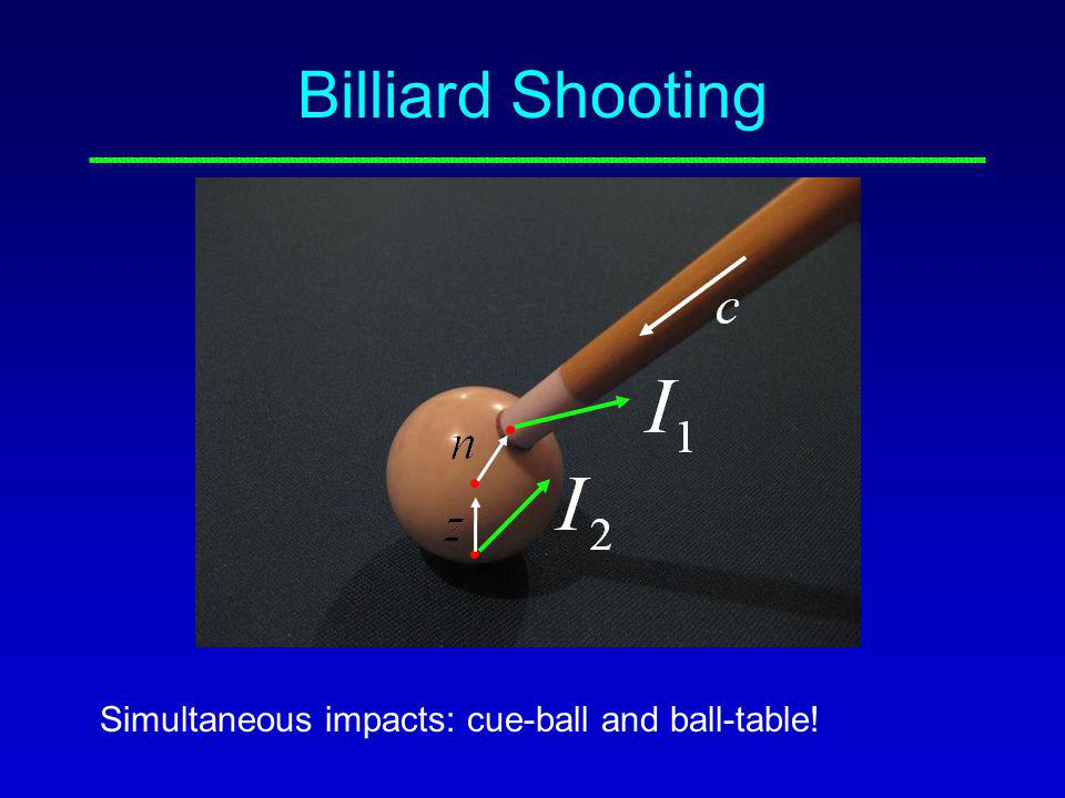 Billiard Shooting Simultaneous impacts: cue-ball and ball-table!
