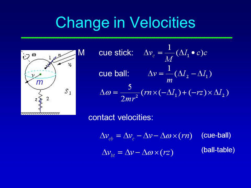 Change in Velocities cue stick: cue ball: contact velocities: (cue-ball) (ball-table) M m