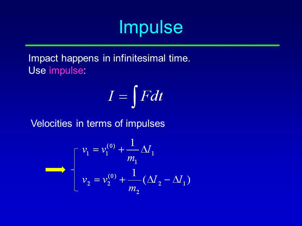 Impulse Impact happens in infinitesimal time. Use impulse: Velocities in terms of impulses