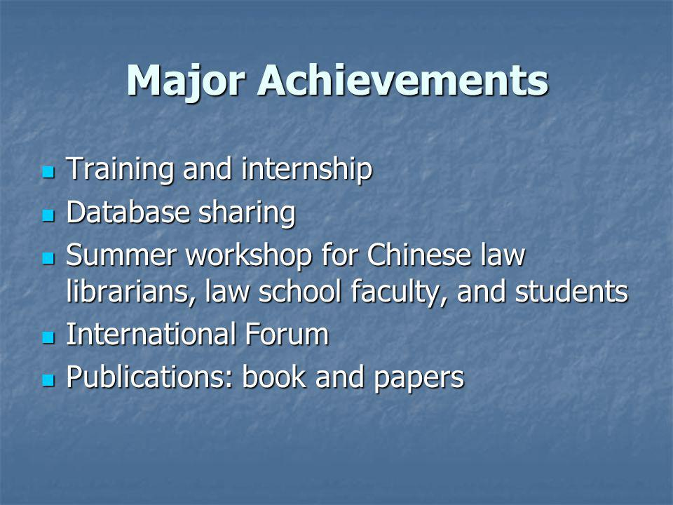 Major Achievements Training and internship Training and internship Database sharing Database sharing Summer workshop for Chinese law librarians, law school faculty, and students Summer workshop for Chinese law librarians, law school faculty, and students International Forum International Forum Publications: book and papers Publications: book and papers