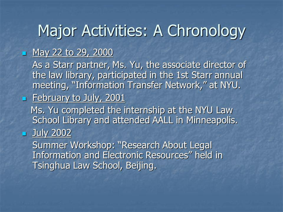 Major Activities: A Chronology May 22 to 29, 2000 May 22 to 29, 2000 As a Starr partner, Ms. Yu, the associate director of the law library, participat
