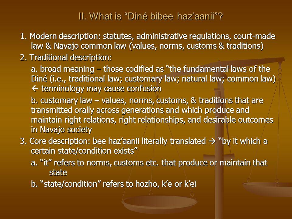 II. What is Diné bibee hazaanii. 1.
