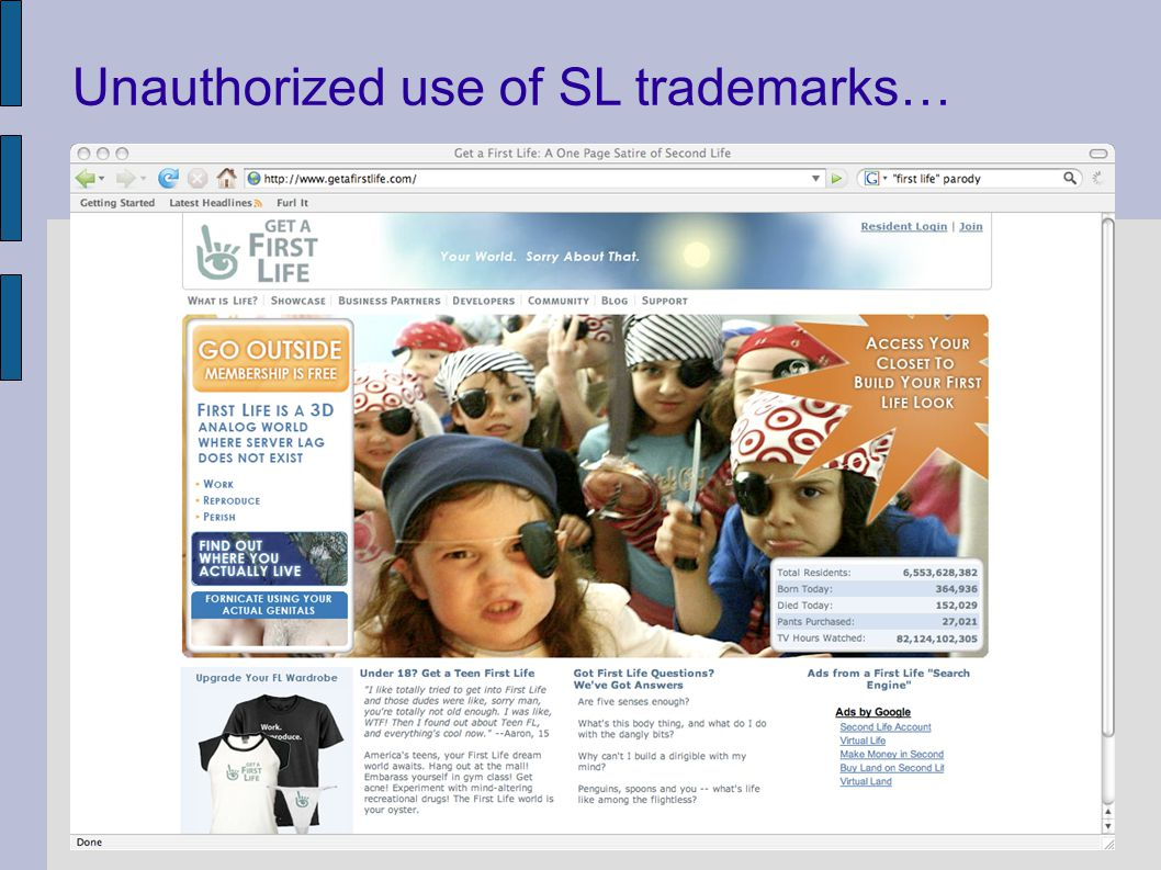 Unauthorized use of SL trademarks…