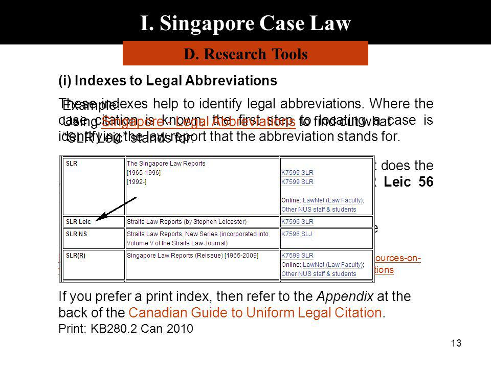 13 I. Singapore Case Law D. Research Tools (i) Indexes to Legal Abbreviations These indexes help to identify legal abbreviations. Where the case citat