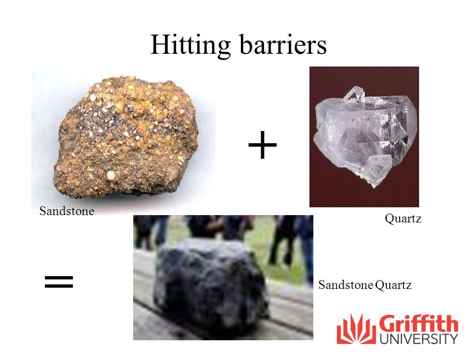 Hitting barriers + = Sandstone Quartz Sandstone Quartz