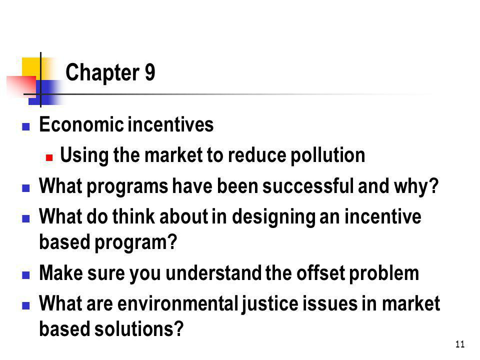 Chapter 9 Economic incentives Using the market to reduce pollution What programs have been successful and why.