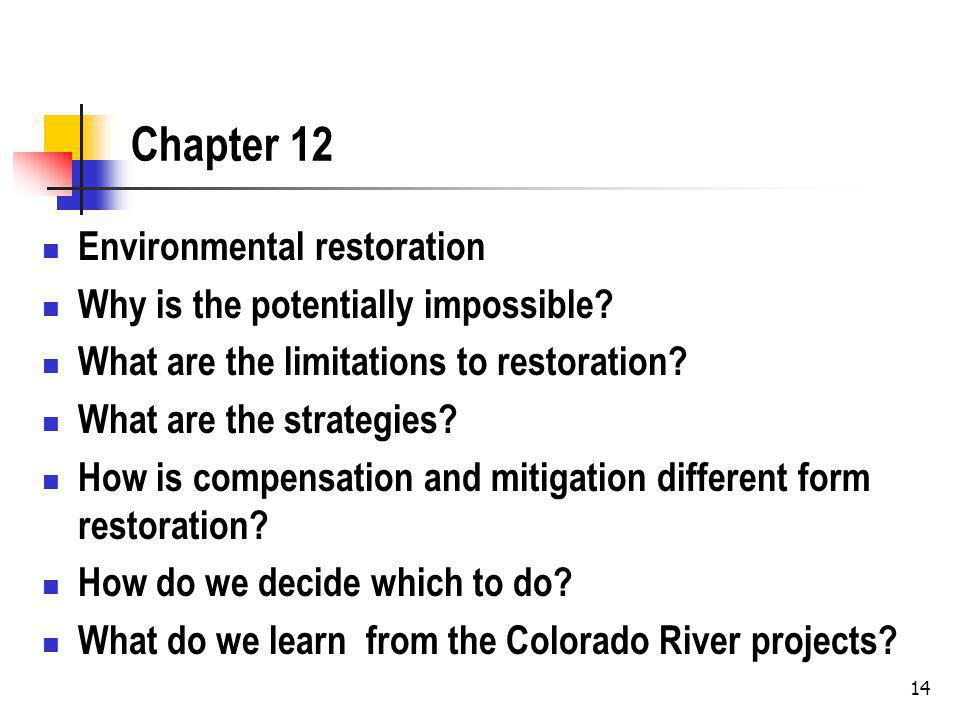 Chapter 12 Environmental restoration Why is the potentially impossible.