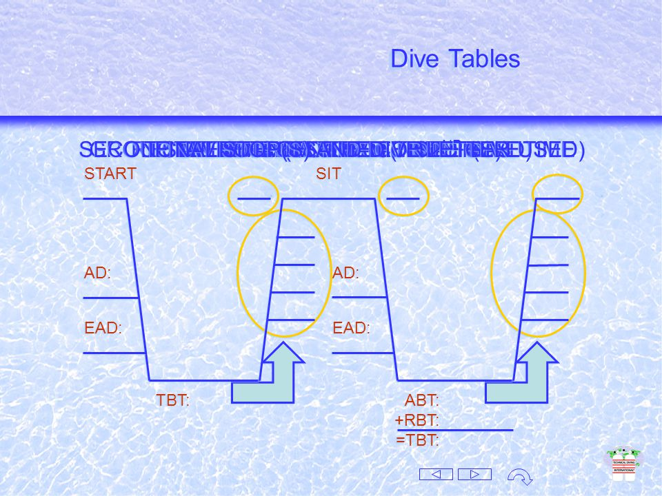 Use the table of choice: USN, Sport, DCEIM, Buhlmann … Use the table of choice: USN, Sport, DCEIM, Buhlmann … 3 Sections 1.No Deco Table Dive Tables 2.Surface Interval Table 3.Residual Nitrogen Table DO NOT MIX TABLES.