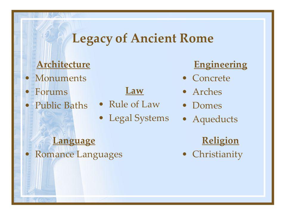 Legacy of Ancient Rome Architecture Monuments Forums Public Baths Engineering Concrete Arches Domes Aqueducts Religion Christianity Language Romance L